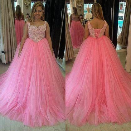 Ball Gown A-line Tulle Prom Dresses..
