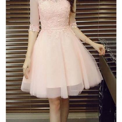 Half Sleeves Short Tulle Homecoming..