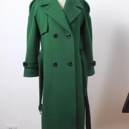 Green Double Beasted Women Wool Co..
