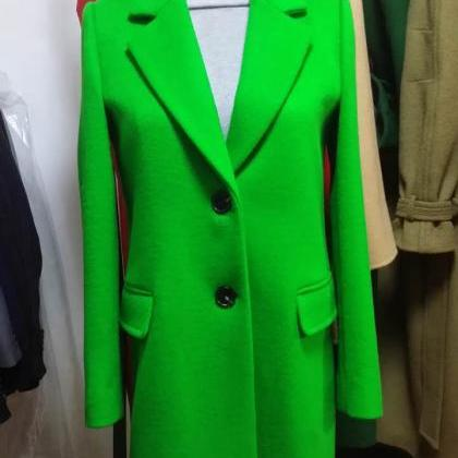 Green Single Beasted Women Wool Co..