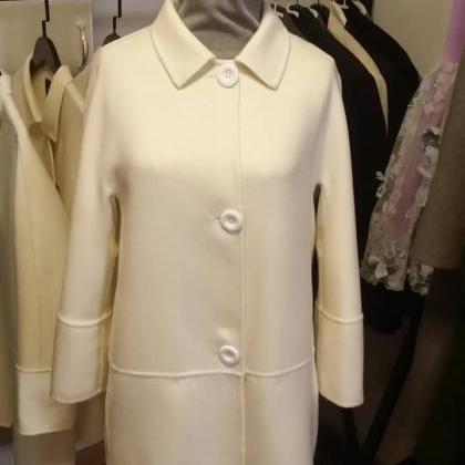 Ivory Single Beasted Women Wool Coa..
