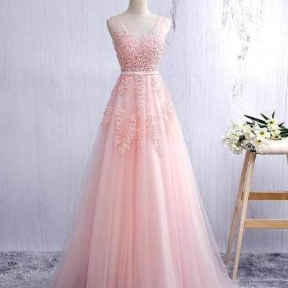 V Neck Pink Long Tulle Prom Dress L..