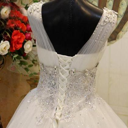 V Neck ball Gown Tulle Lace Wedding..