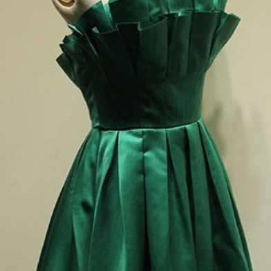 Strapless A-line Green Satin Homeco..