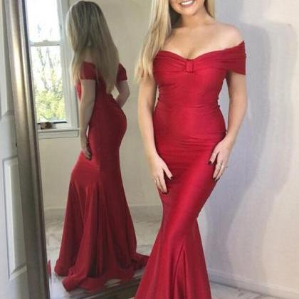 Off the Shoulder Long Mermaid Red S..