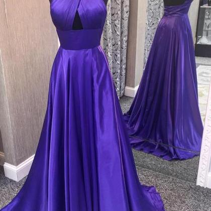 Open back Purple Satin Prom Dress H..