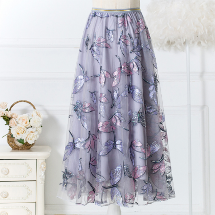 A-line Flower Printed Chiffon Women..