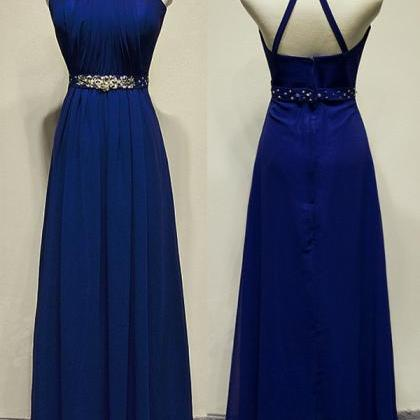 Royal Blue Long Chiffon Prom Dresse..