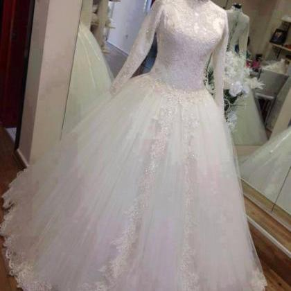 Full Sleeves Ball gown Tulle Lace A..