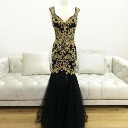 Black Sleeveless V-Neck Golden Appl..