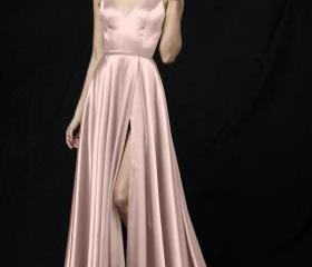high Slit Long Satin..