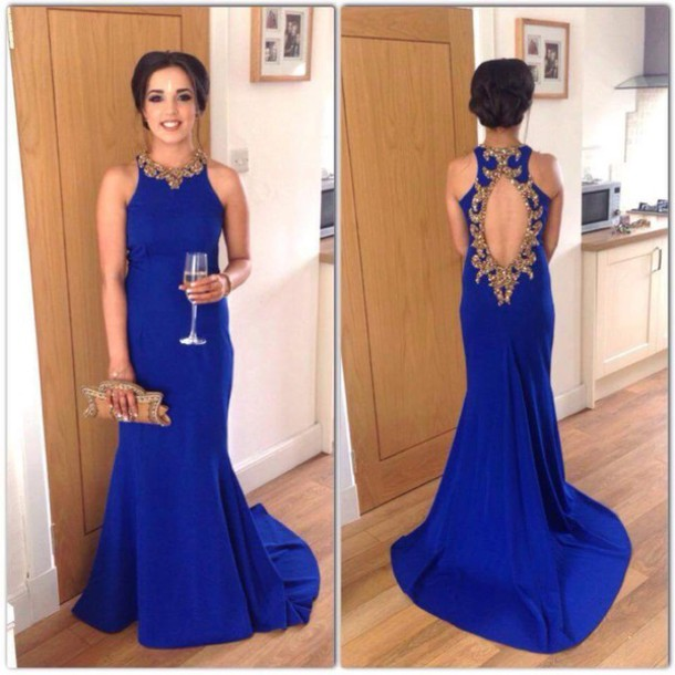 Open Back Royal Blue Chiffon Prom Dresses Crystals Women Party Dresses 9f29a0eff