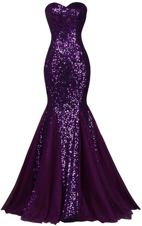 Strapless Sweetheart Sequin Mermaid Long Prom Dress, Evening Dress
