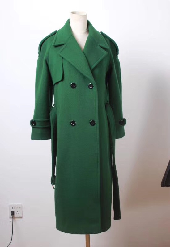 Green Double Beasted Women Wool Coat with lining