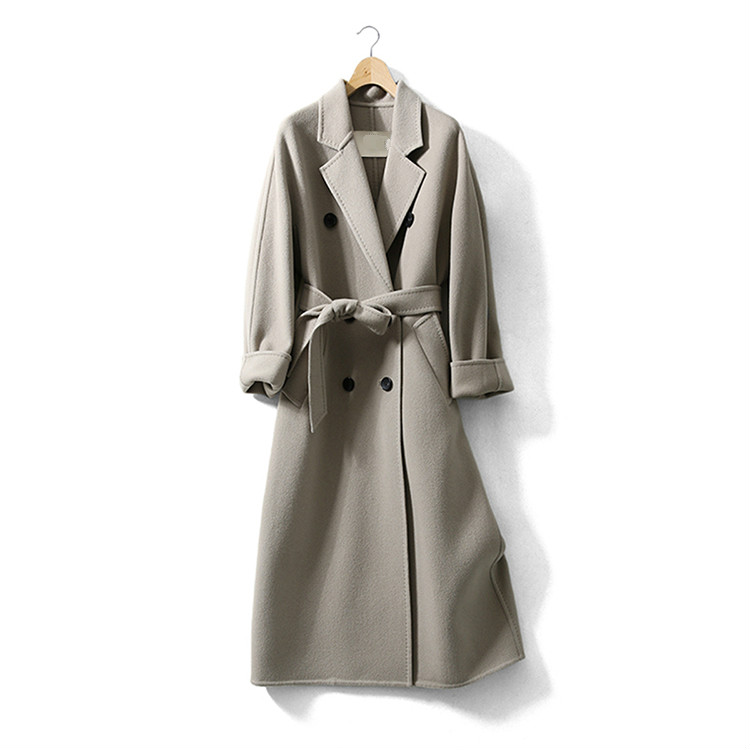Light Grey Double Beasted Women Wool Coat without lining