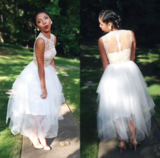 White Tulle Prom Dress O-neck Women Party Dress