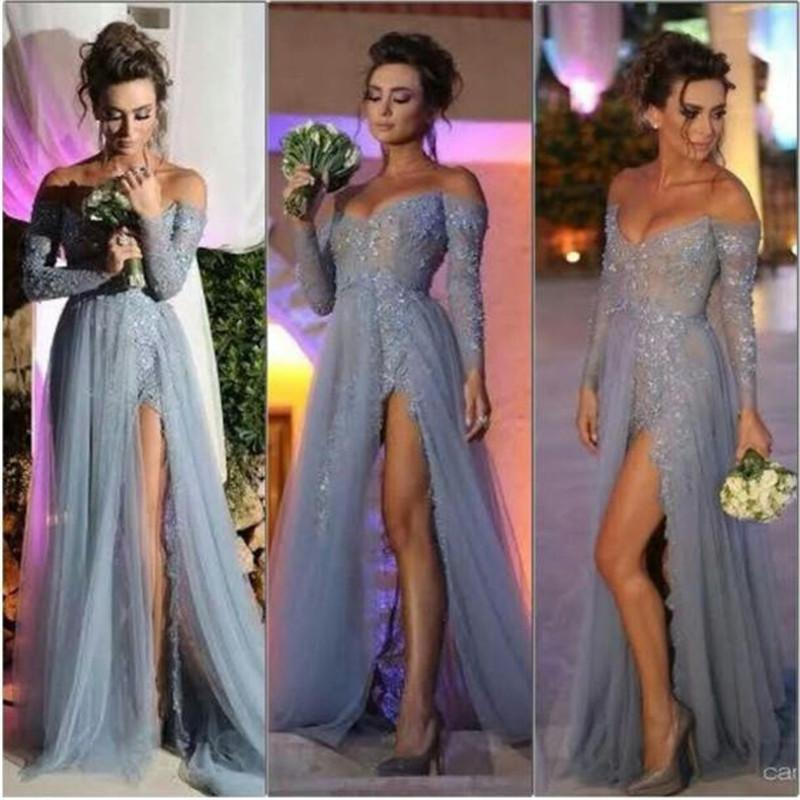 6c036dbed8 Off Shoulder Long Tulle Prom Dresses Lace Appliques Women Dresses on ...
