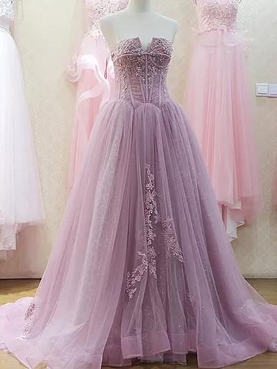Strapless Light Purple Tulle Prom Dress Lace Appliques Women Formal Dress