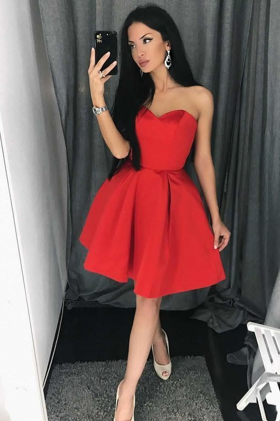 d996596ee2c9 Above Knee Mini Satin Red Prom Dress Strapless Short Women Party Dress