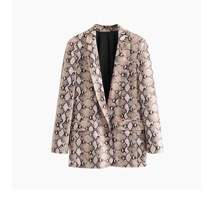 Snake Print Blazer Pockets Notched Collar Long Sleeve Coat Outerwear