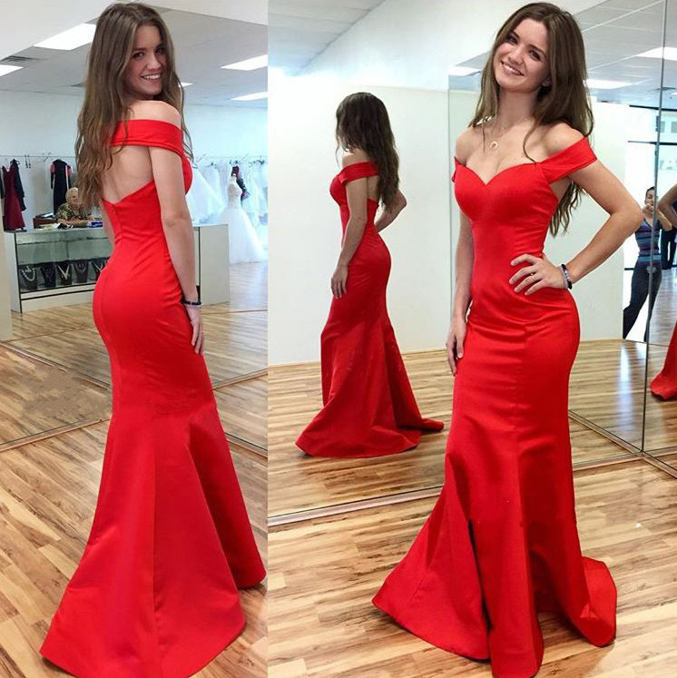 036b0b59df6c Off the Shoulder Mermaid Red Satin prom Dress Floor Length open Back Evening  Dress