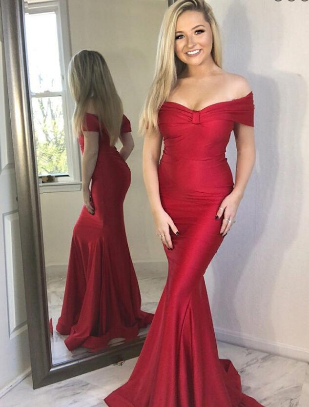Off the Shoulder Long Mermaid Red Satin Prom Dress Floor Length Women Evening Dress 2019
