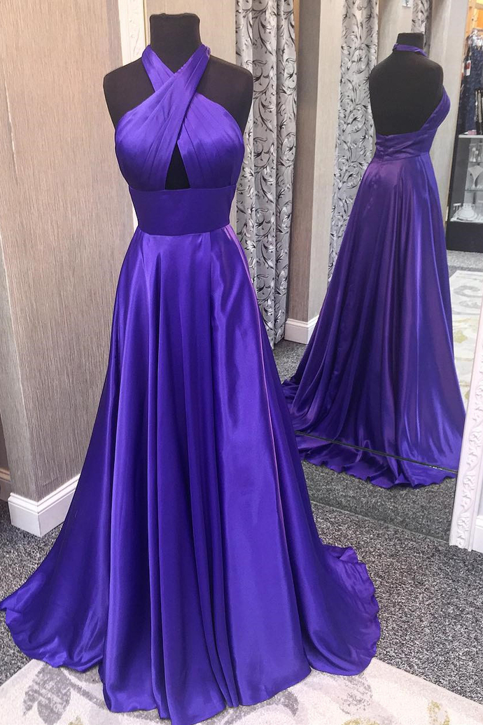 Open back Purple Satin Prom Dress Halter Neck Floor Length Women party Dress