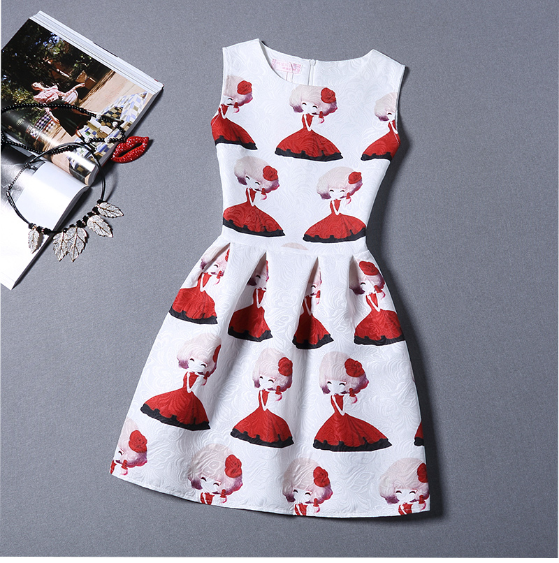 Short Sleeveless Women One-piece Dresses Charming Printed Dresses