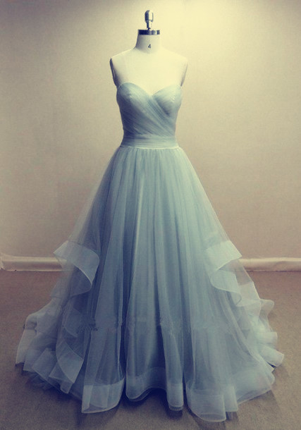 Tulle Prom Dresses Sweetheart Neck A-line Floor Length Party Dresses