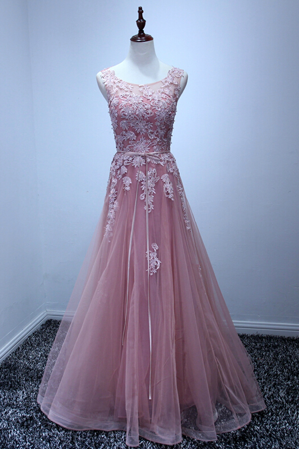 e7c199711b0 Charming A-line Tulle Prom Dresses Scoop Neck Appliques Floor Length Party  Dresses Tailor Made