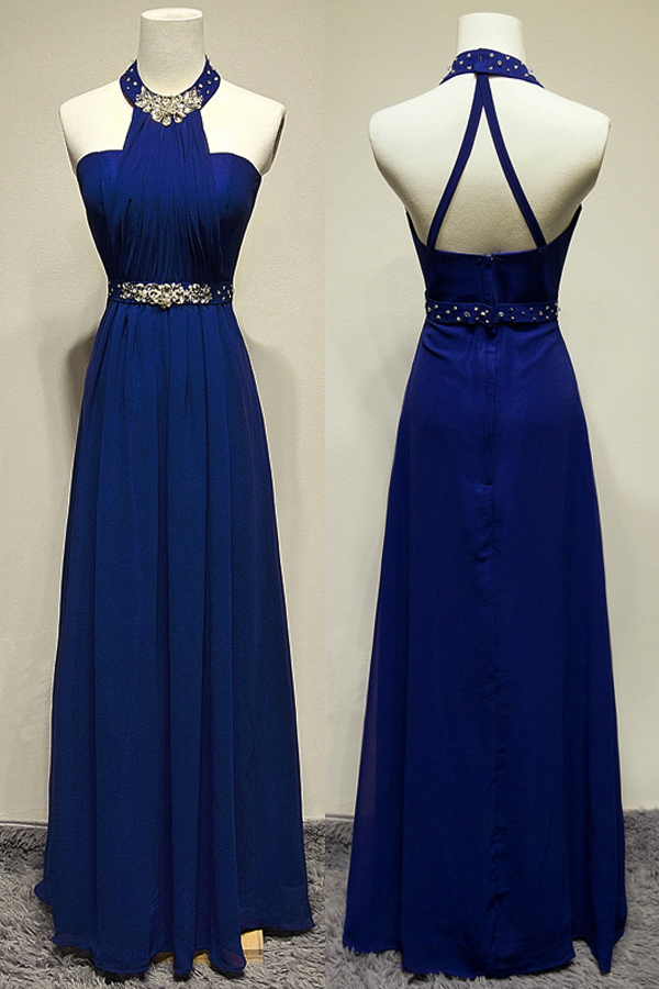 Royal Blue Long Chiffon Prom Dresses Halter Neck Crystals Beaded Party Dresses Floor Length Women Dresses