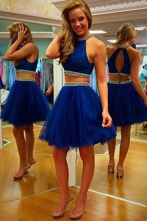 f95a337ff1 Two Parts Royal Blue Tulle Prom Dresses Halter Neck Beaded Party Dresses  Mini Tailor Dresses