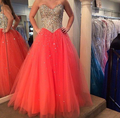 Sweetheart Neck A-line Tulle Prom Dresses with Crystals Floor Length Party Dresses Custom Made Women Dresses 2016