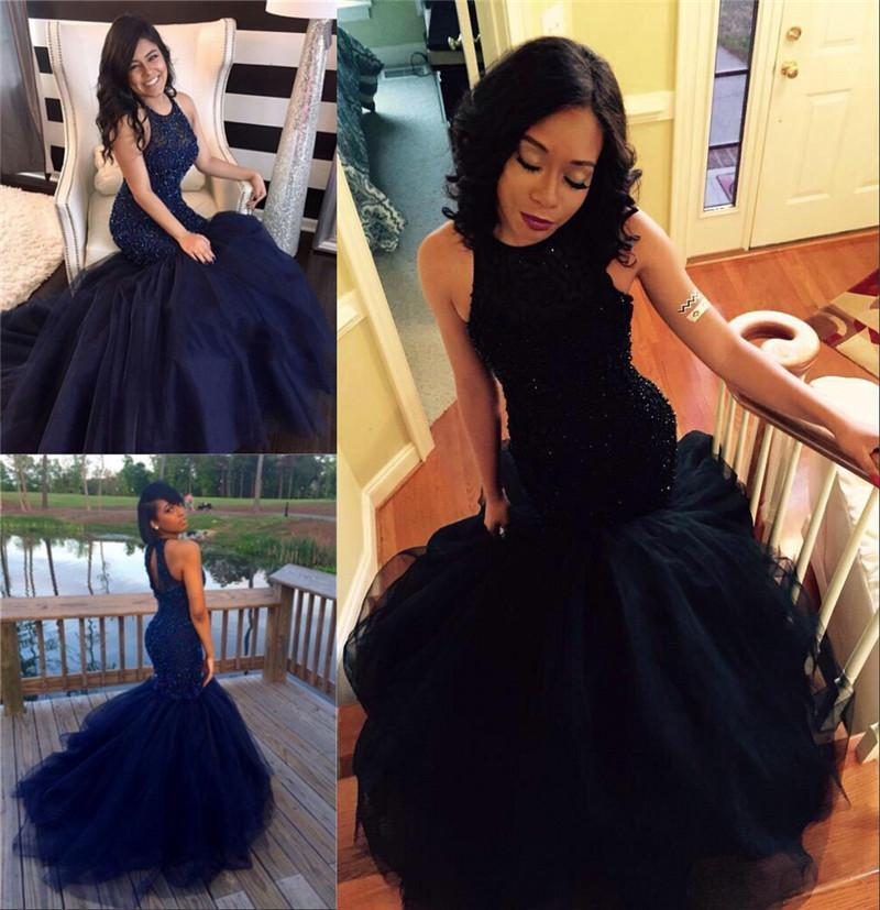 Sexy Mermaid Tulle Prom Dresses High Neck Lace Appliques Floor Length Party Dresses 2016