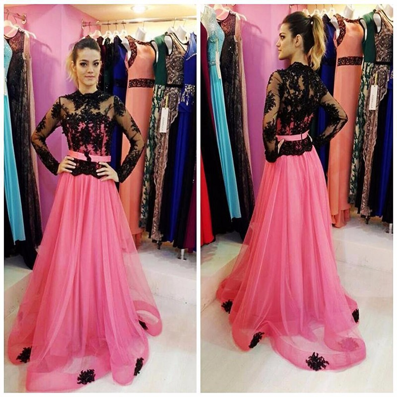Full Sleeves A-line Pink Long Tulle Prom Dresses Floor length Custom Made Party Dresses 2016