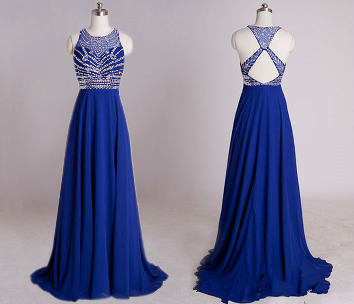 Open Back royal Blue Chiffon Prom Dresses with Crystals