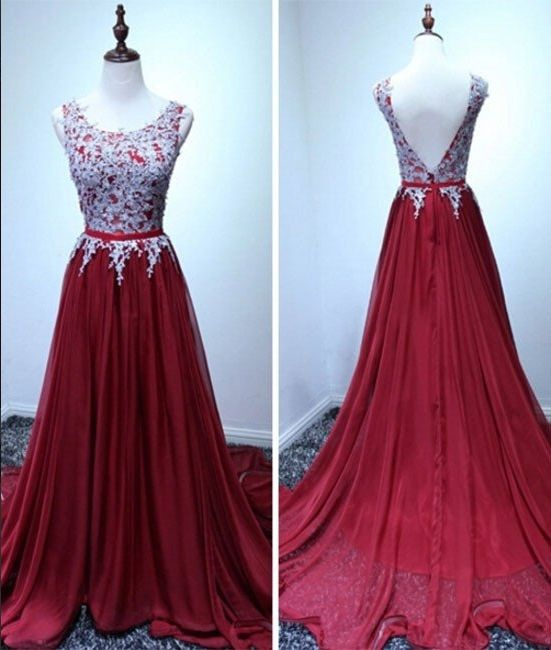 Dark Red Chiffon Prom Dresses, Lace Prom Dresses, Scoop Neck Women Party  Dresses 2017