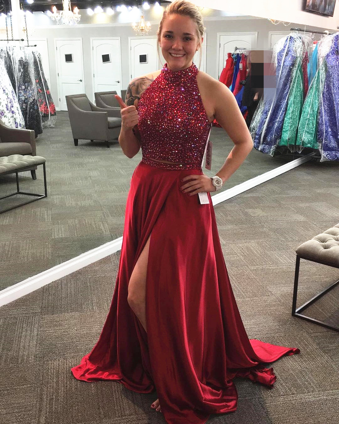 Dark Red Soft Satin Prom Dresses With