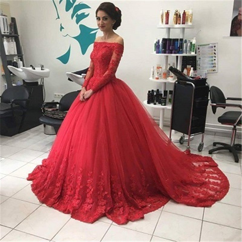0a4a0606ecb Full Sleeves Red Tulle Wedding Dresses Off Shoulder Lace Women Bridal Gowns