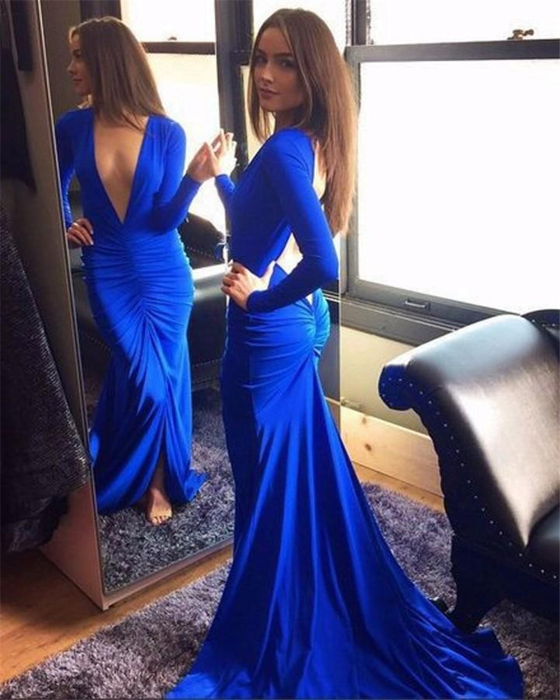 ff30575d86 Full Sleeves Mermaid Navy Blue Chiffon Prom Dresses Deep V-neck on ...