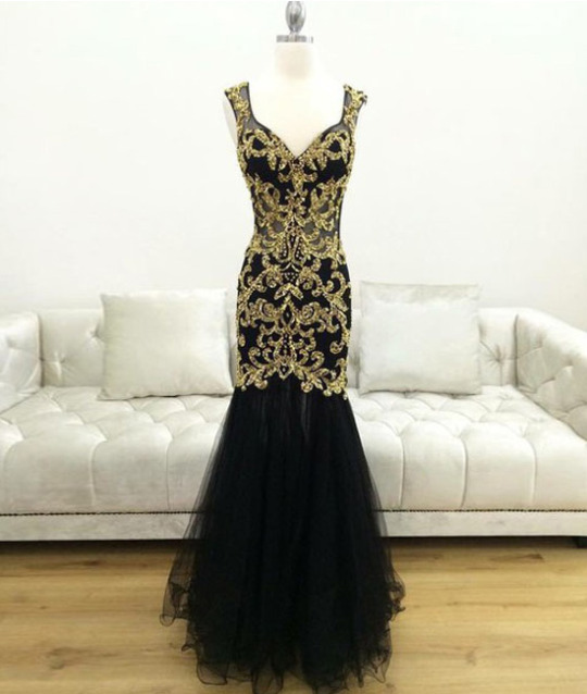 Black Sleeveless V-Neck Golden Appliqués Tulle Mermaid Long Prom Dress, Evening Dress