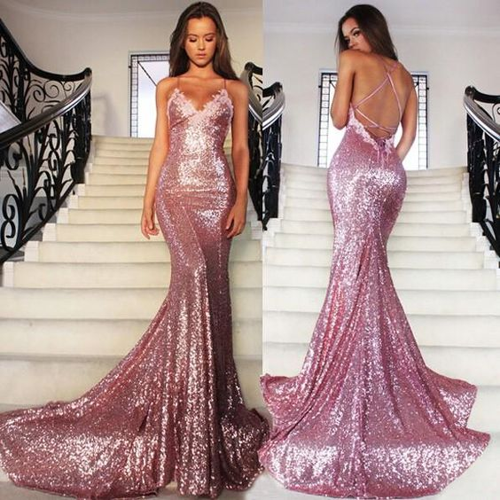 Sexy Mermaid Sequin Lace Prom Dresses Spaghetti Straps Women Dresses
