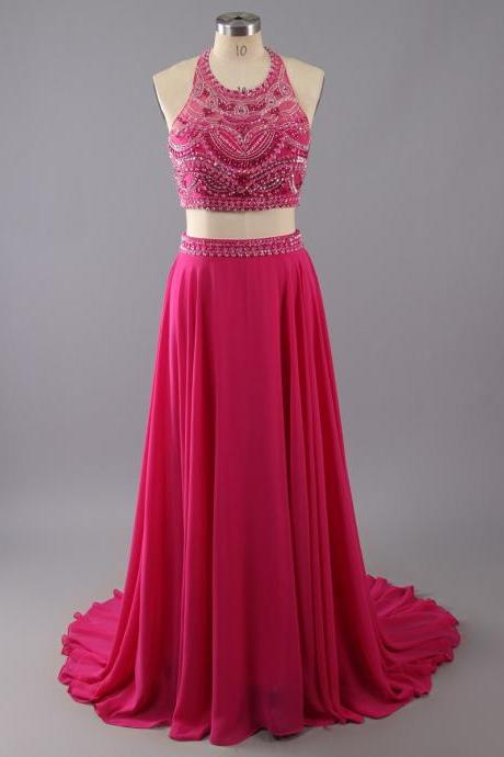 Two Pieces Long Chiffon Prom Dresses Halter Neck Crystals Floor Length Women Dresses