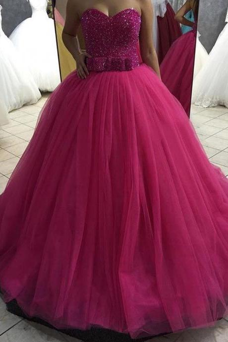 Ball Gown Tulle Prom Dresses Sweetheart Crystals Floor Length Women Party Dresses