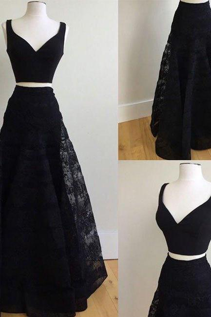 Two Pieces Long Black Lace Prom Dresses V-neck Women Party Dresses