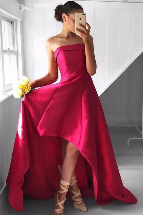 Strapless A-line Satin Prom Dresses High Low Women Party Dresses