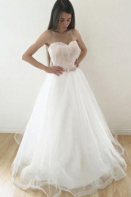White Tulle A-line Prom Dresses Sweetheart Neck Women Party Dresses