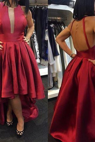 Halter Neck Red Satin Prom Dresses High Low Floor Length Women Dresses