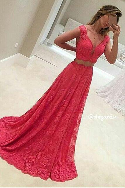 V-neck Long Lace Prom Dresses Floor Length Women Party Dresses
