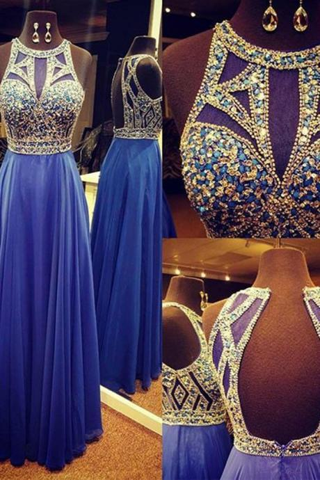 Scoop Neck Chiffon Prom Dresses Crystals Beaded Women party Dresses